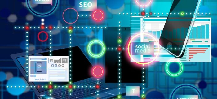 Digital marketing concepts set against a blue background