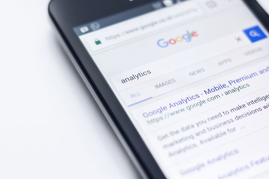 Mobile phone showing Google search