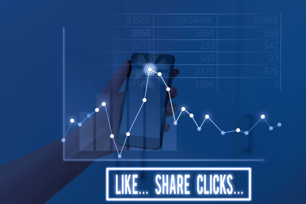 graph with likes, shares and clicks