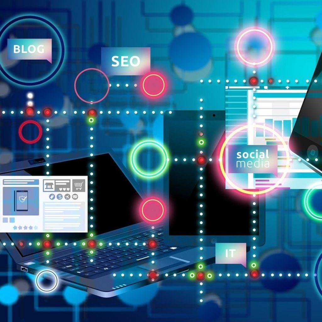 blue digital marketing background