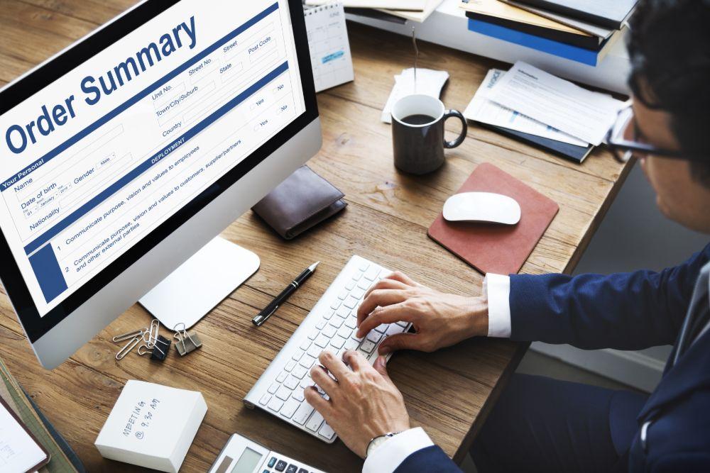 Pair of hands type order summary online